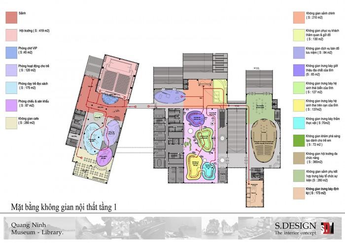 Mặt bằng không gian nội thất tầng 1