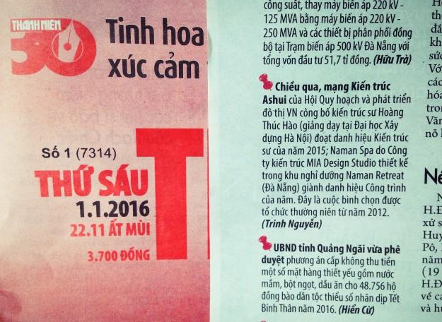 Báo Thanh Niên 01.01.2016