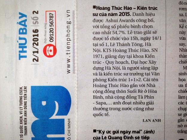 Báo Tiền Phong 02.01.2016