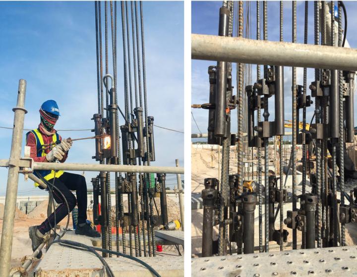 Thi công hàn cột – Thép cốt bê tông D22