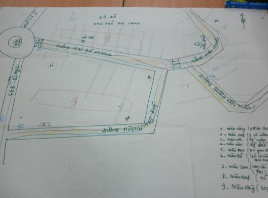 Hình ảnh bản đồ khảo sát do cộng đồng đánh dấu các khu vực có vấn đề về nhà ở và hạ tầng