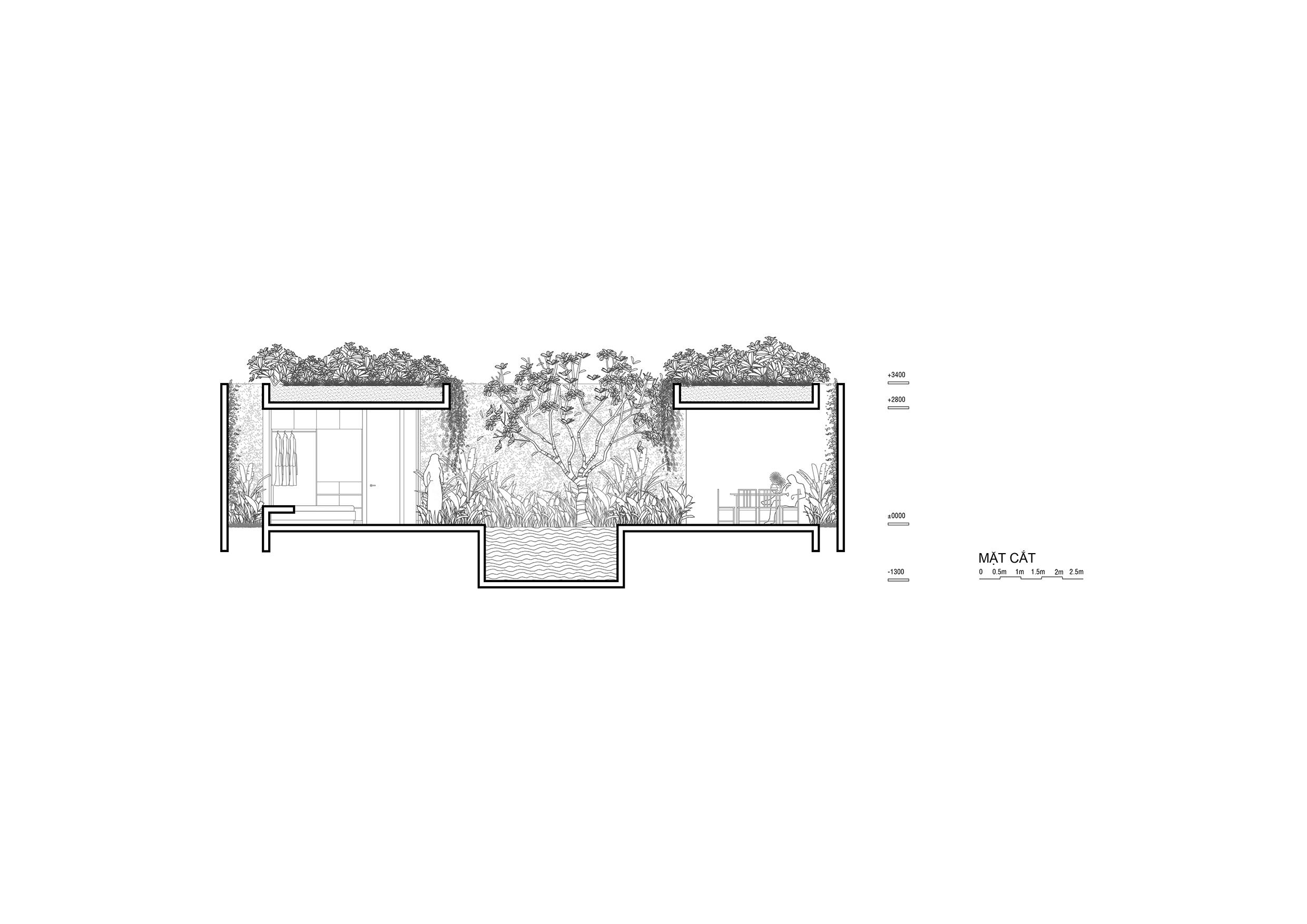 4-Mặt cắt Villa 2 phòng ngủ