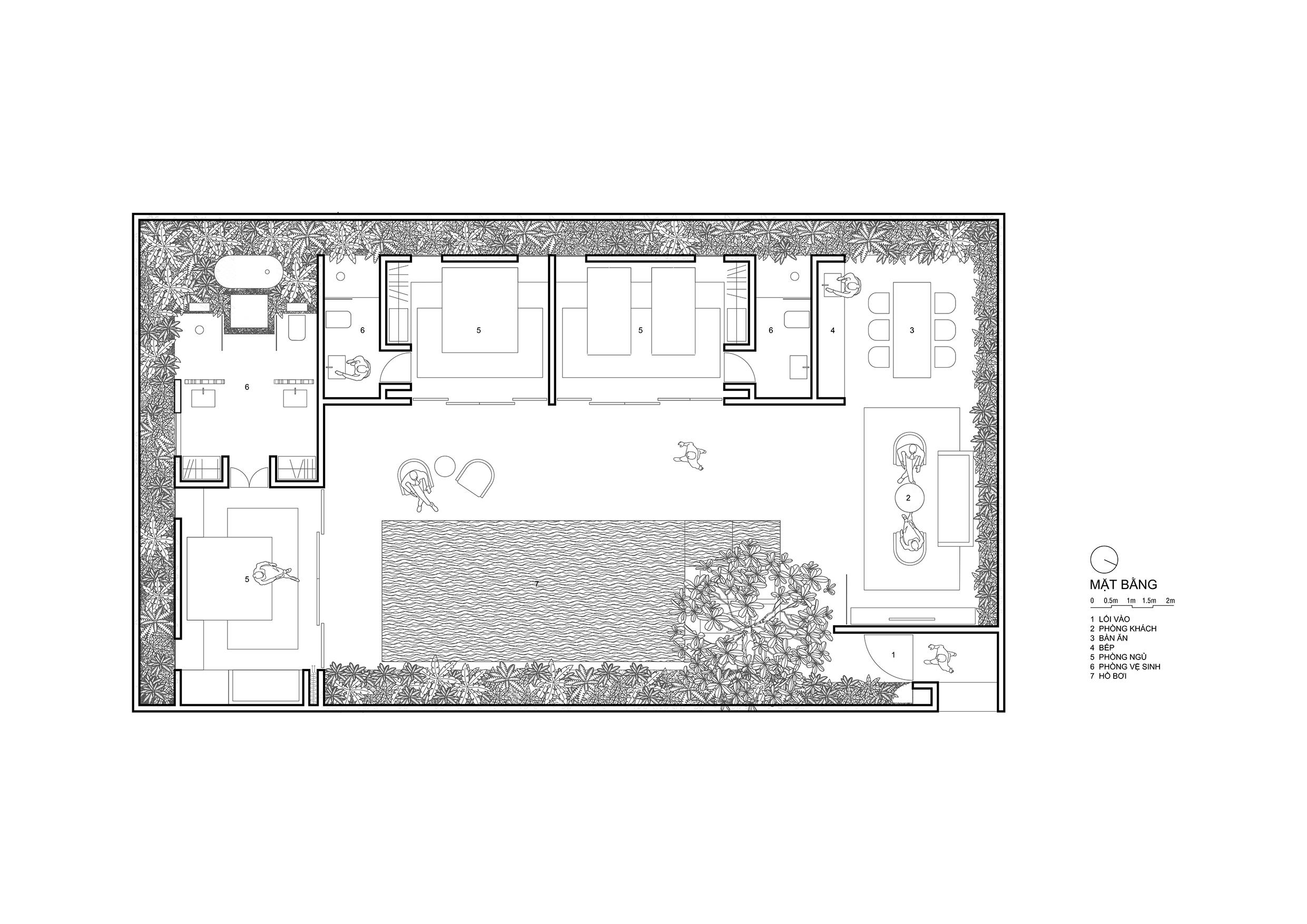 5-Mặt bằng Villa 3 phòng ngủ